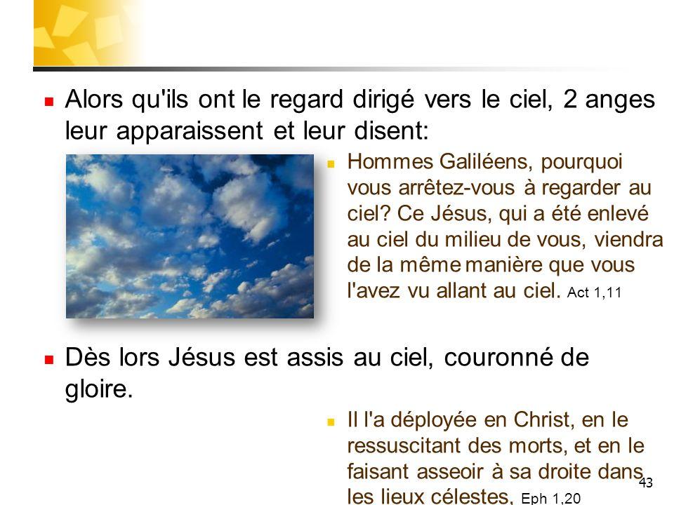 43 Alors qu'ils ont le regard dirigé vers le ciel, 2 anges leur apparaissent et leur disent: Hommes Galiléens, pourquoi vous arrêtez-vous à regarder a
