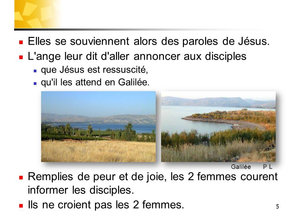 5 Elles se souviennent alors des paroles de Jésus. L'ange leur dit d'aller annoncer aux disciples que Jésus est ressuscité, qu'il les attend en Galilé