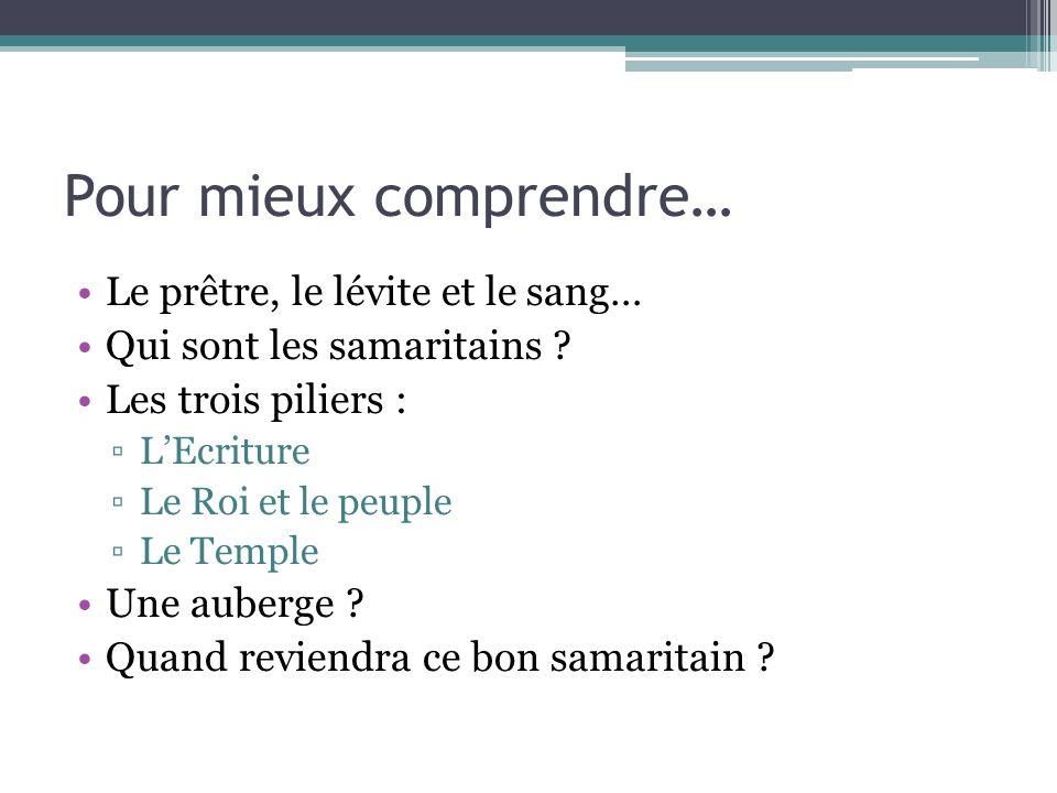 Pour mieux comprendre… Le prêtre, le lévite et le sang… Qui sont les samaritains ? Les trois piliers : LEcriture Le Roi et le peuple Le Temple Une aub