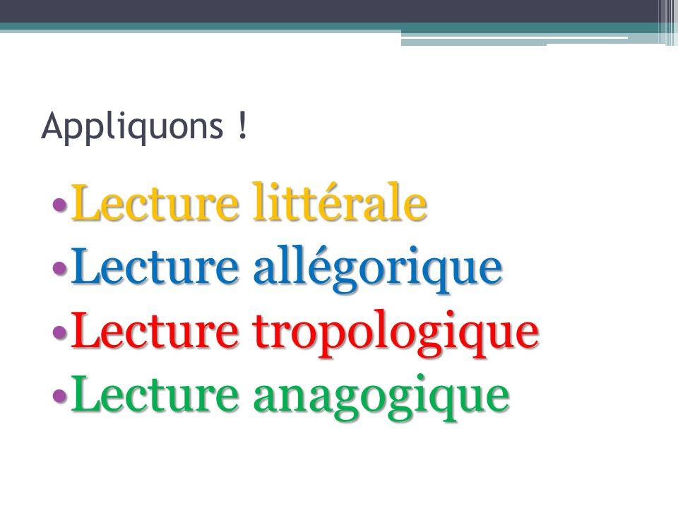 Appliquons ! Lecture littéraleLecture littérale Lecture allégoriqueLecture allégorique Lecture tropologiqueLecture tropologique Lecture anagogiqueLect