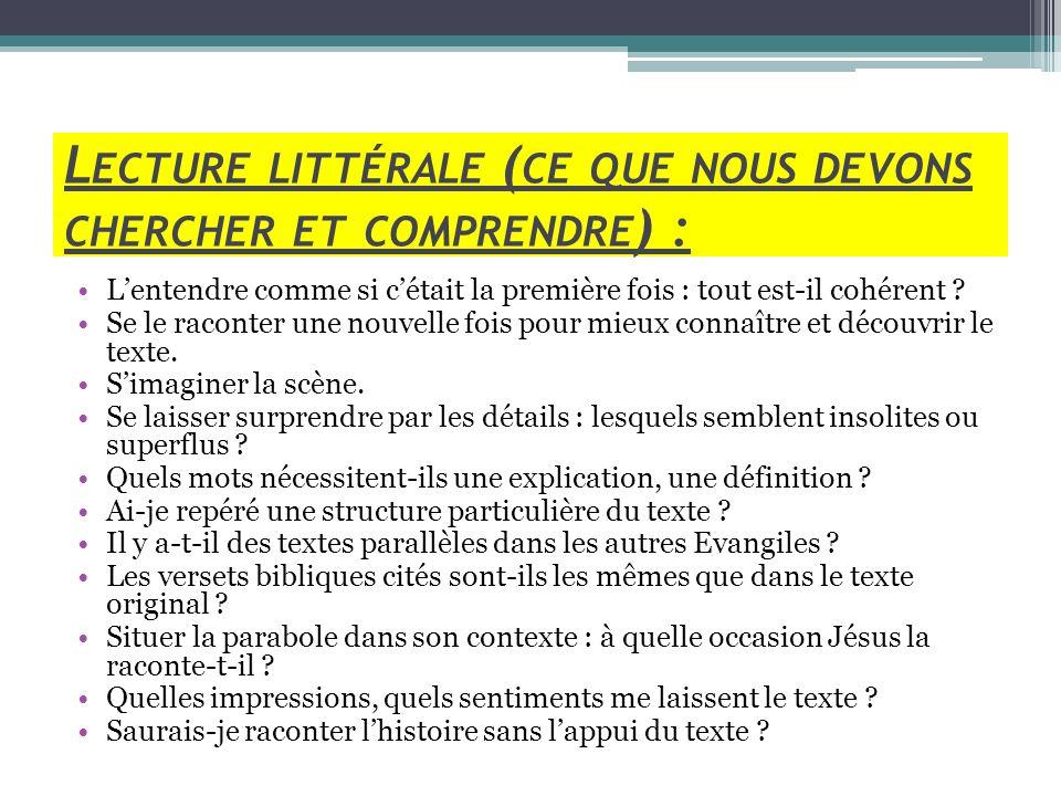L ECTURE LITTÉRALE ( CE QUE NOUS DEVONS CHERCHER ET COMPRENDRE ) : Lentendre comme si cétait la première fois : tout est-il cohérent ? Se le raconter