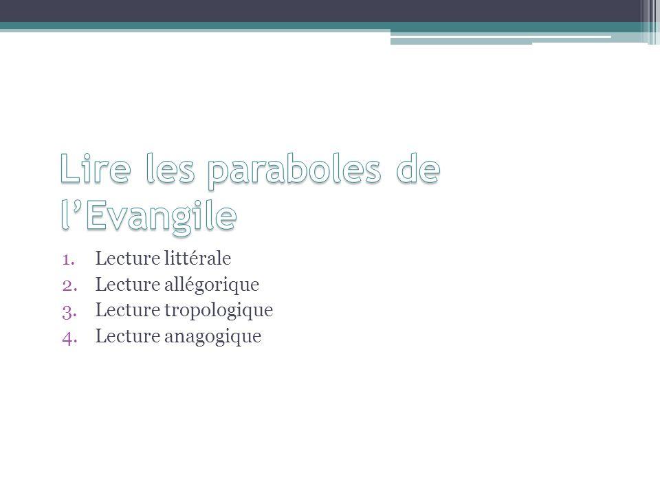 1.Lecture littérale 2.Lecture allégorique 3.Lecture tropologique 4.Lecture anagogique