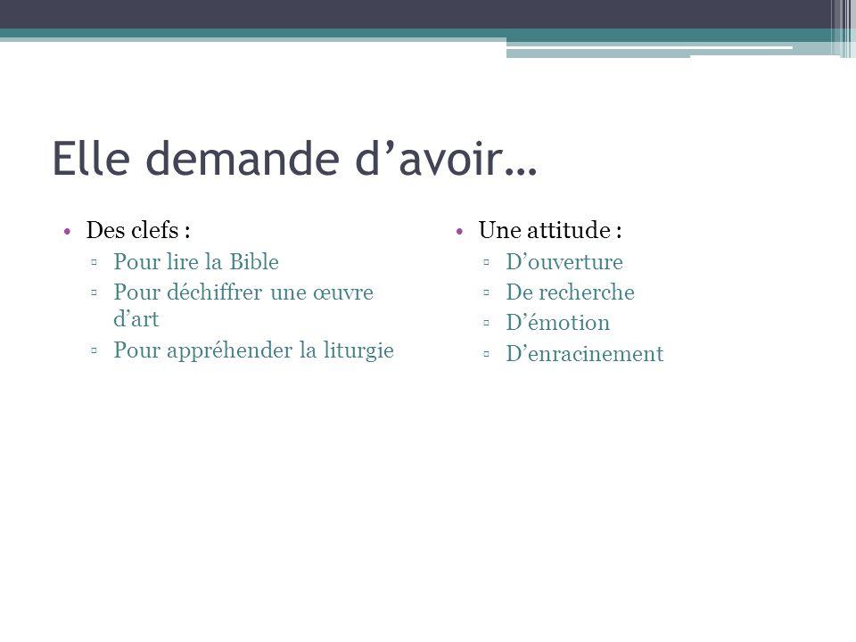 Elle demande davoir… Des clefs : Pour lire la Bible Pour déchiffrer une œuvre dart Pour appréhender la liturgie Une attitude : Douverture De recherche