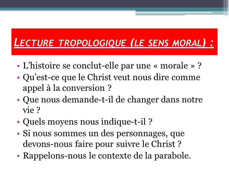 L ECTURE TROPOLOGIQUE ( LE SENS MORAL ) : Lhistoire se conclut-elle par une « morale » ? Quest-ce que le Christ veut nous dire comme appel à la conver