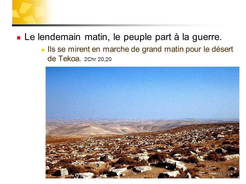 29 Le lendemain matin, le peuple part à la guerre. Ils se mirent en marche de grand matin pour le désert de Tekoa. 2Chr 20,20