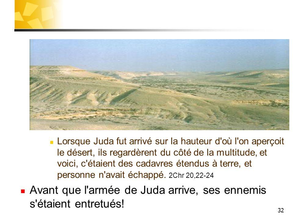 32 Lorsque Juda fut arrivé sur la hauteur d'où l'on aperçoit le désert, ils regardèrent du côté de la multitude, et voici, c'étaient des cadavres éten