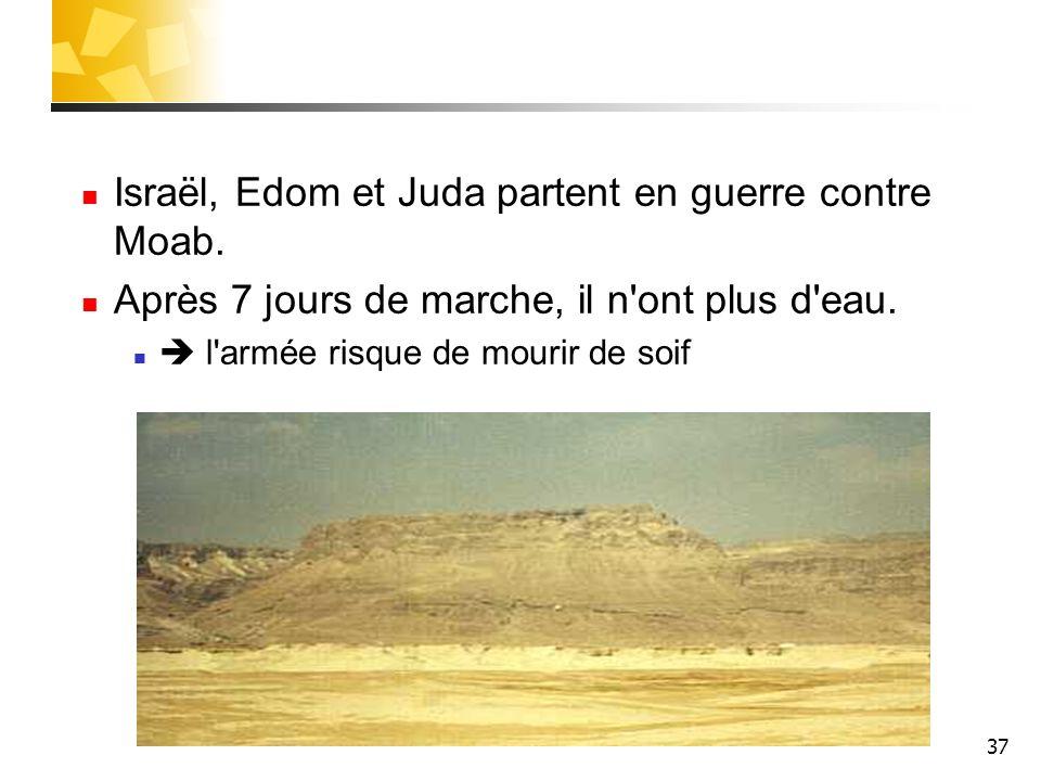 37 Israël, Edom et Juda partent en guerre contre Moab. Après 7 jours de marche, il n'ont plus d'eau. l'armée risque de mourir de soif