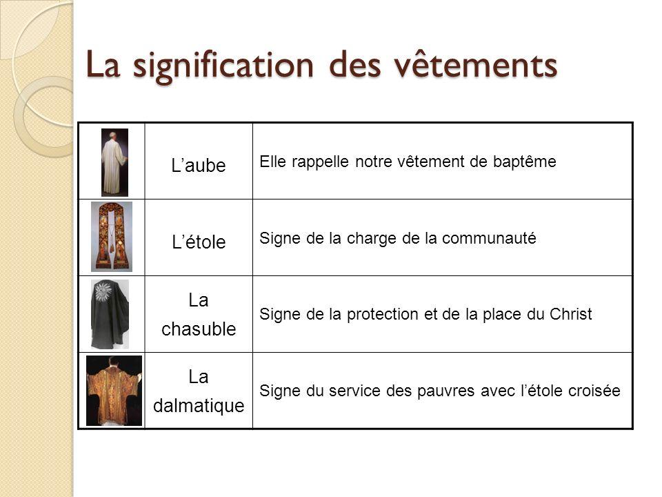 La signification des vêtements Laube Elle rappelle notre vêtement de baptême Létole Signe de la charge de la communauté La chasuble Signe de la protec