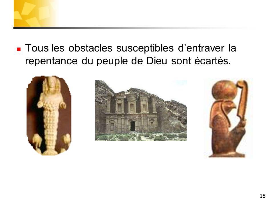15 Tous les obstacles susceptibles dentraver la repentance du peuple de Dieu sont écartés.