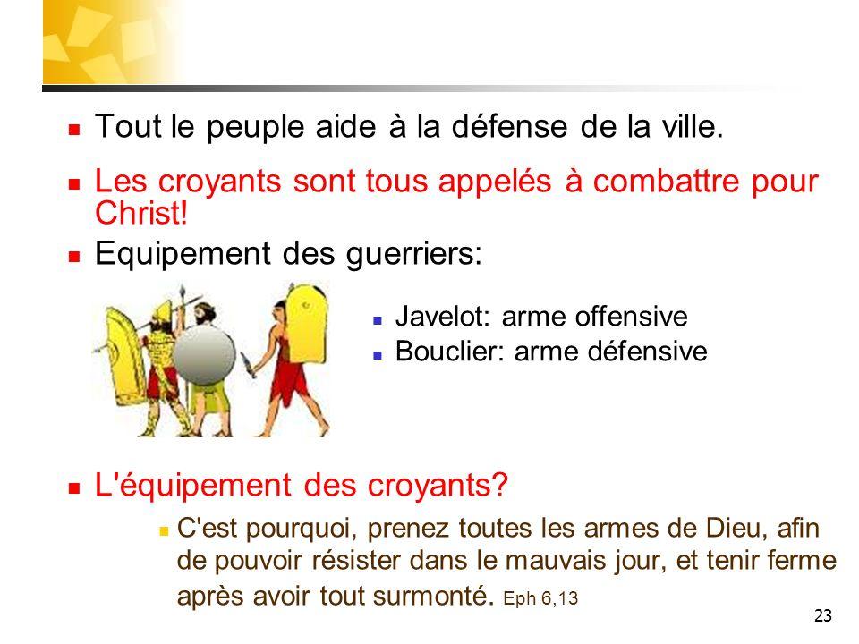 23 Tout le peuple aide à la défense de la ville. Les croyants sont tous appelés à combattre pour Christ! Equipement des guerriers: L'équipement des cr