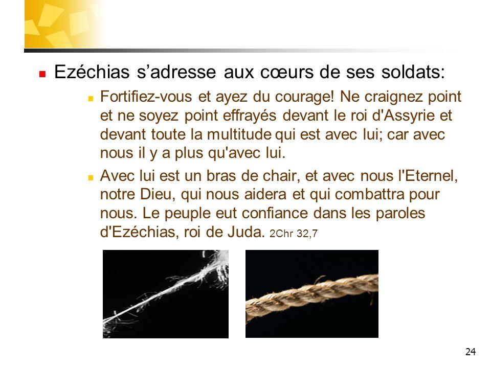 24 Ezéchias sadresse aux cœurs de ses soldats: Fortifiez-vous et ayez du courage! Ne craignez point et ne soyez point effrayés devant le roi d'Assyrie