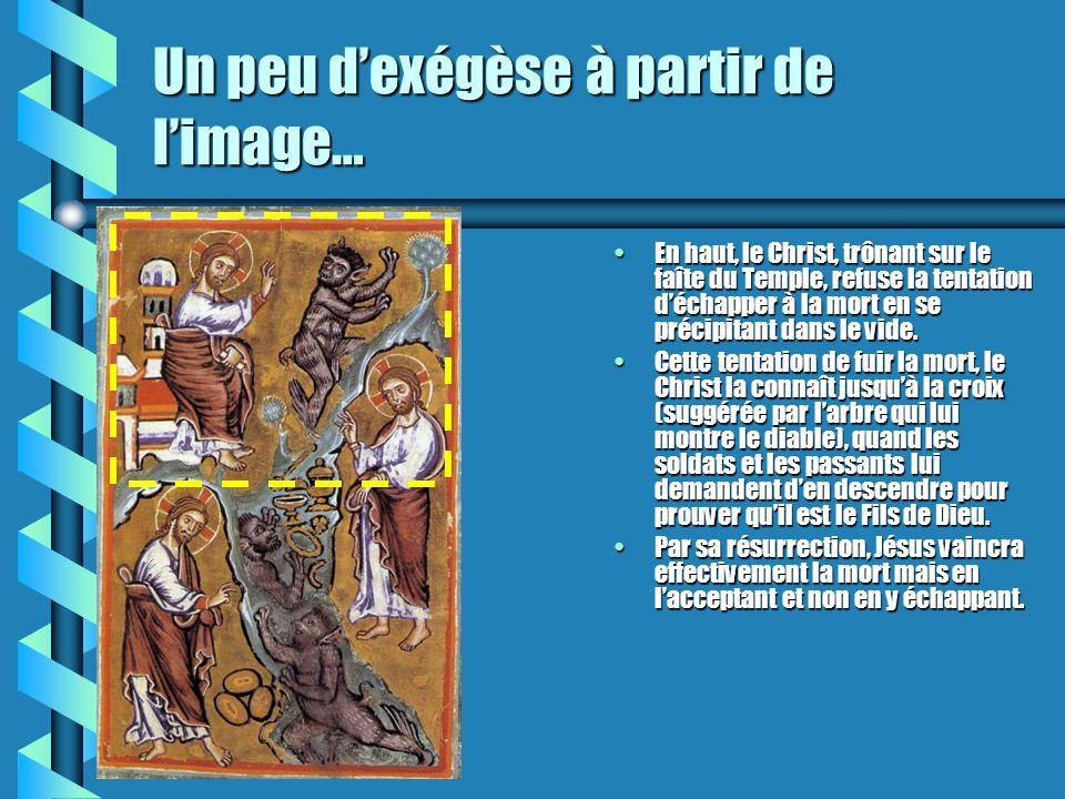 Un peu dexégèse à partir de limage… En haut, le Christ, trônant sur le faîte du Temple, refuse la tentation déchapper à la mort en se précipitant dans