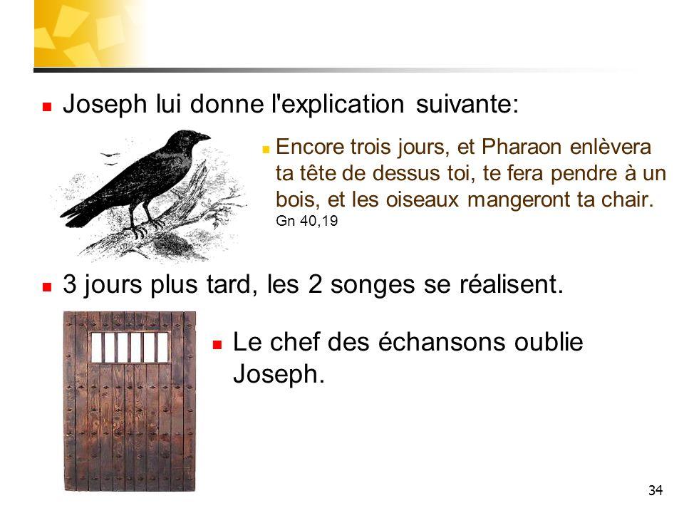 34 Joseph lui donne l'explication suivante: Encore trois jours, et Pharaon enlèvera ta tête de dessus toi, te fera pendre à un bois, et les oiseaux ma