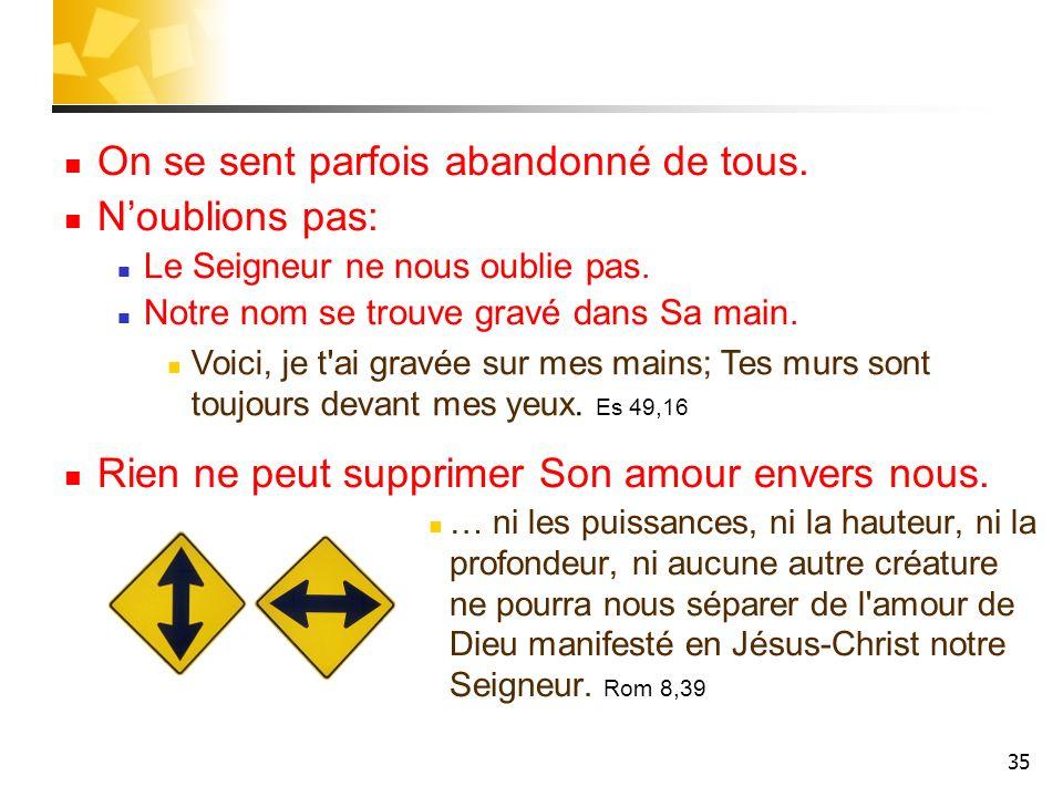35 On se sent parfois abandonné de tous. Noublions pas: Le Seigneur ne nous oublie pas. Notre nom se trouve gravé dans Sa main. Rien ne peut supprimer