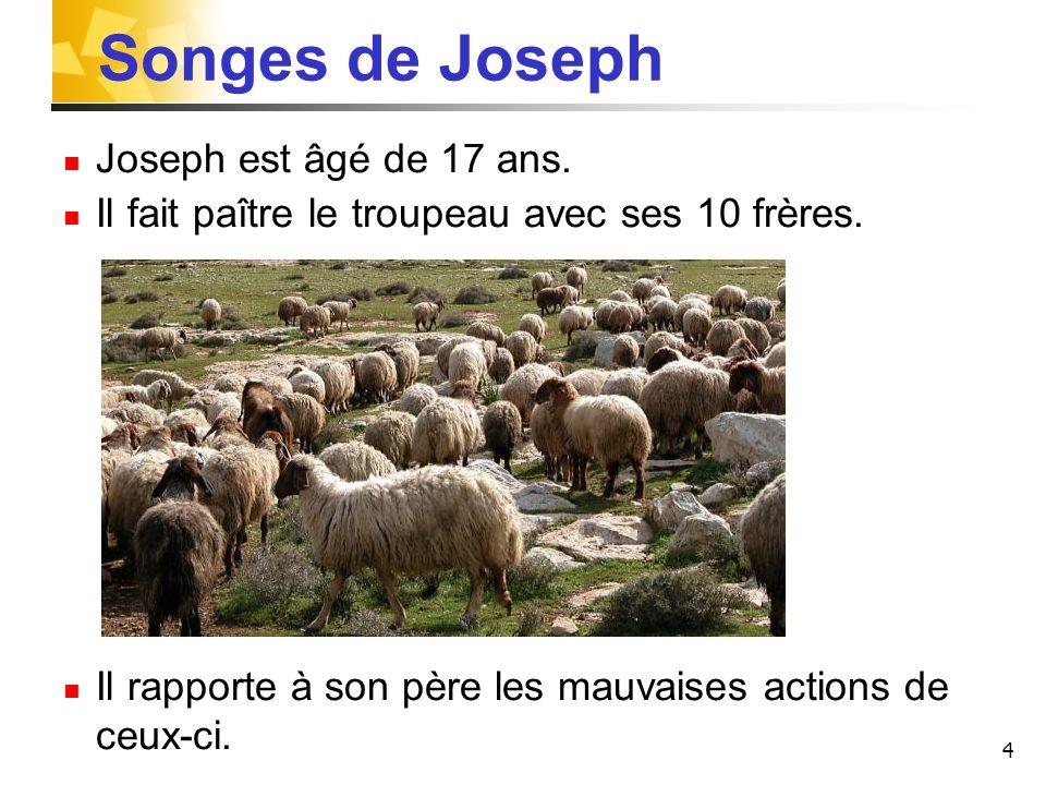 4 Songes de Joseph Joseph est âgé de 17 ans. Il fait paître le troupeau avec ses 10 frères. Il rapporte à son père les mauvaises actions de ceux-ci.