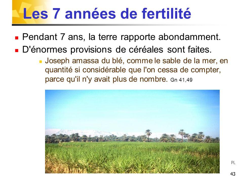 43 Les 7 années de fertilité Pendant 7 ans, la terre rapporte abondamment. D'énormes provisions de céréales sont faites. Joseph amassa du blé, comme l
