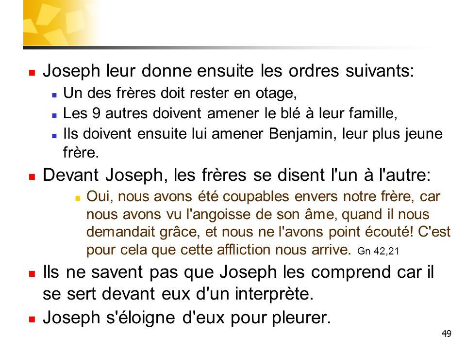 49 Joseph leur donne ensuite les ordres suivants: Un des frères doit rester en otage, Les 9 autres doivent amener le blé à leur famille, Ils doivent e