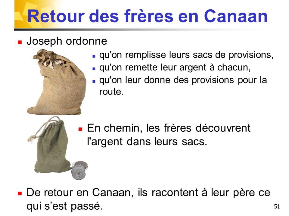 51 Retour des frères en Canaan Joseph ordonne qu'on remplisse leurs sacs de provisions, qu'on remette leur argent à chacun, qu'on leur donne des provi