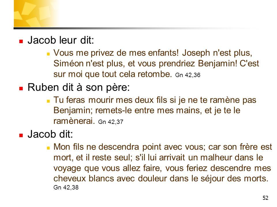 52 Jacob leur dit: Vous me privez de mes enfants! Joseph n'est plus, Siméon n'est plus, et vous prendriez Benjamin! C'est sur moi que tout cela retomb