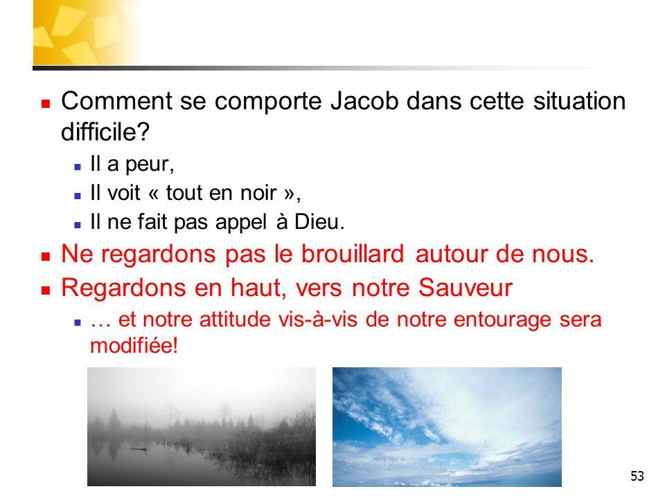 53 Comment se comporte Jacob dans cette situation difficile? Il a peur, Il voit « tout en noir », Il ne fait pas appel à Dieu. Ne regardons pas le bro