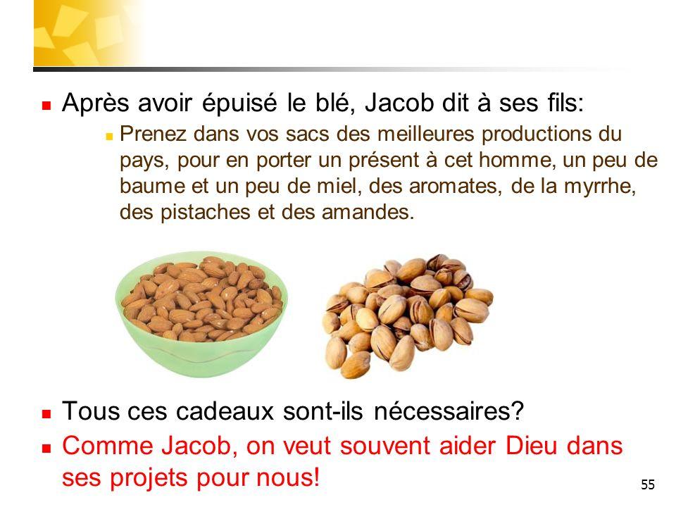 55 Après avoir épuisé le blé, Jacob dit à ses fils: Prenez dans vos sacs des meilleures productions du pays, pour en porter un présent à cet homme, un