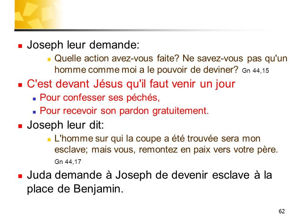 62 Joseph leur demande: Quelle action avez-vous faite? Ne savez-vous pas qu'un homme comme moi a le pouvoir de deviner? Gn 44,15 C'est devant Jésus qu