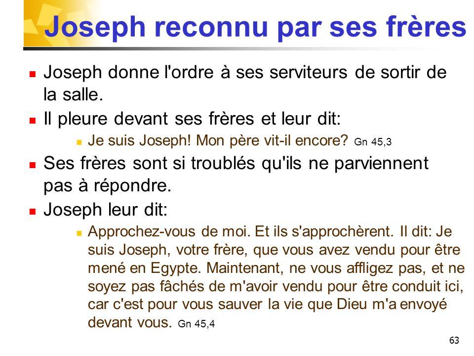 63 Joseph reconnu par ses frères Joseph donne l'ordre à ses serviteurs de sortir de la salle. Il pleure devant ses frères et leur dit: Je suis Joseph!