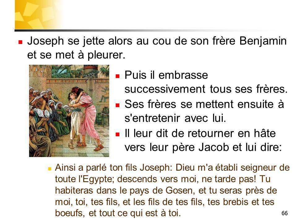 66 Joseph se jette alors au cou de son frère Benjamin et se met à pleurer. Ainsi a parlé ton fils Joseph: Dieu m'a établi seigneur de toute l'Egypte;