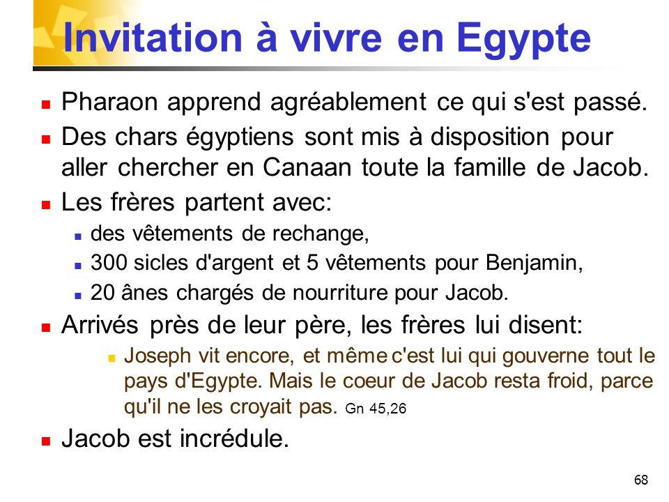 68 Invitation à vivre en Egypte Pharaon apprend agréablement ce qui s'est passé. Des chars égyptiens sont mis à disposition pour aller chercher en Can