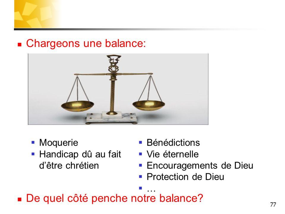 77 Chargeons une balance: De quel côté penche notre balance? Moquerie Handicap dû au fait dêtre chrétien Bénédictions Vie éternelle Encouragements de