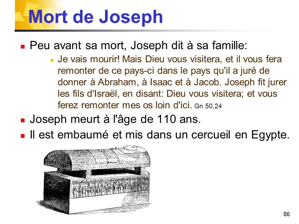 86 Mort de Joseph Peu avant sa mort, Joseph dit à sa famille: Je vais mourir! Mais Dieu vous visitera, et il vous fera remonter de ce pays-ci dans le