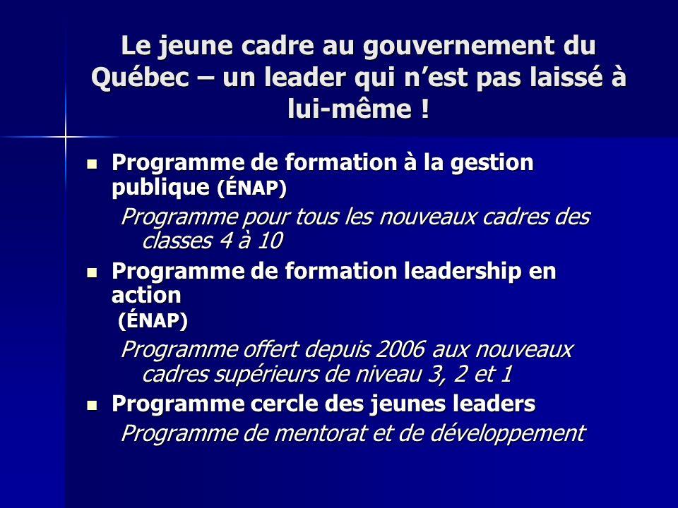 Le jeune cadre au gouvernement du Québec – un leader qui nest pas laissé à lui-même ! Programme de formation à la gestion publique (ÉNAP) Programme de