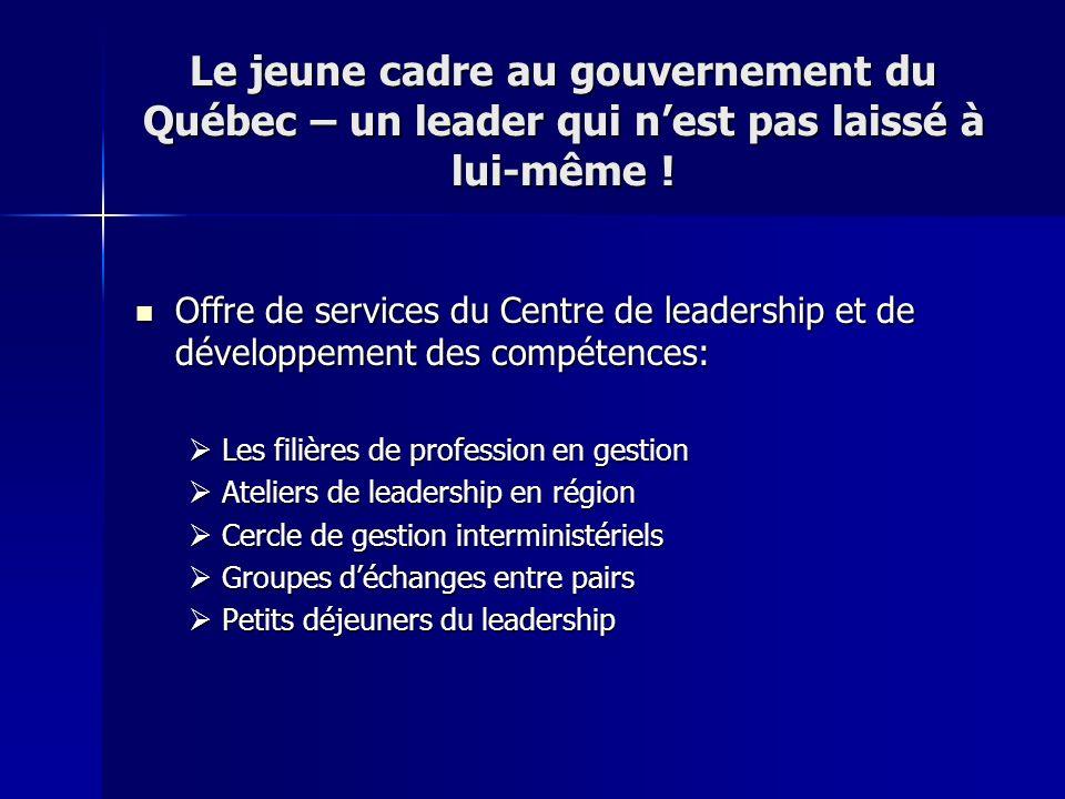 Le jeune cadre au gouvernement du Québec – un leader qui nest pas laissé à lui-même ! Offre de services du Centre de leadership et de développement de