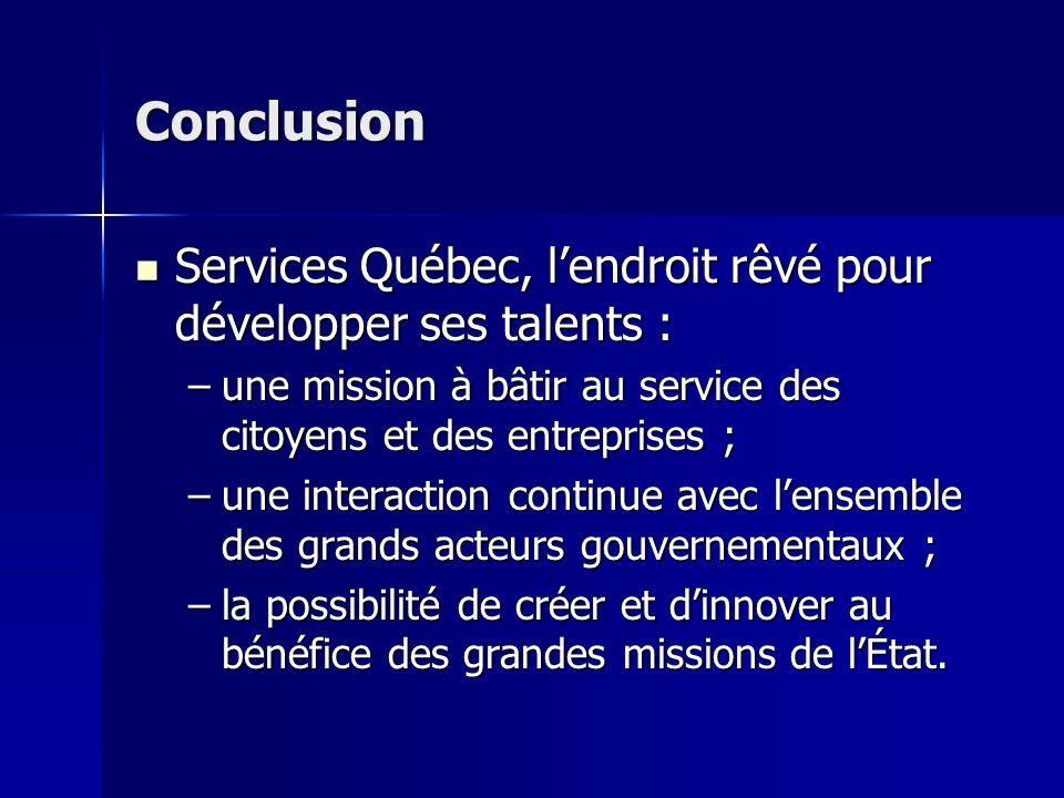 Conclusion Services Québec, lendroit rêvé pour développer ses talents : Services Québec, lendroit rêvé pour développer ses talents : –une mission à bâ