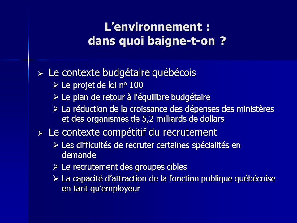 Lenvironnement : dans quoi baigne-t-on ? Le contexte budgétaire québécois Le contexte budgétaire québécois Le projet de loi n o 100 Le projet de loi n