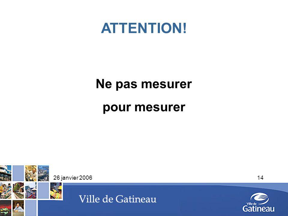 26 janvier 200614 Ne pas mesurer pour mesurer ATTENTION!