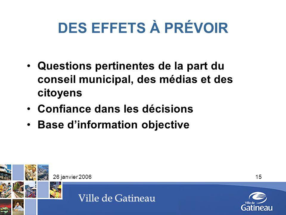 26 janvier 200615 DES EFFETS À PRÉVOIR Questions pertinentes de la part du conseil municipal, des médias et des citoyens Confiance dans les décisions