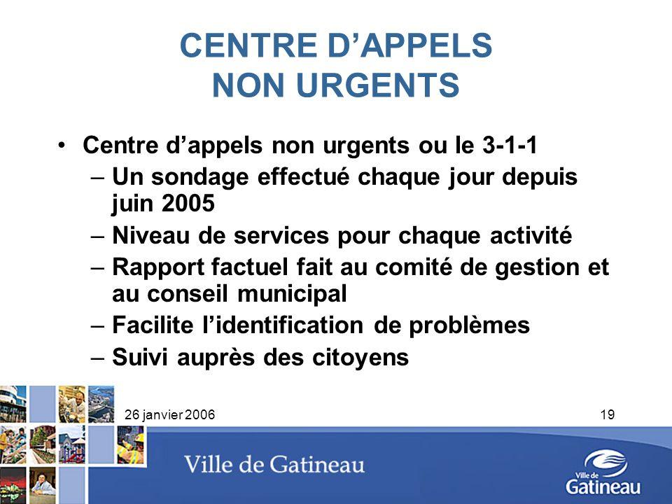 26 janvier 200619 CENTRE DAPPELS NON URGENTS Centre dappels non urgents ou le 3-1-1 –Un sondage effectué chaque jour depuis juin 2005 –Niveau de servi