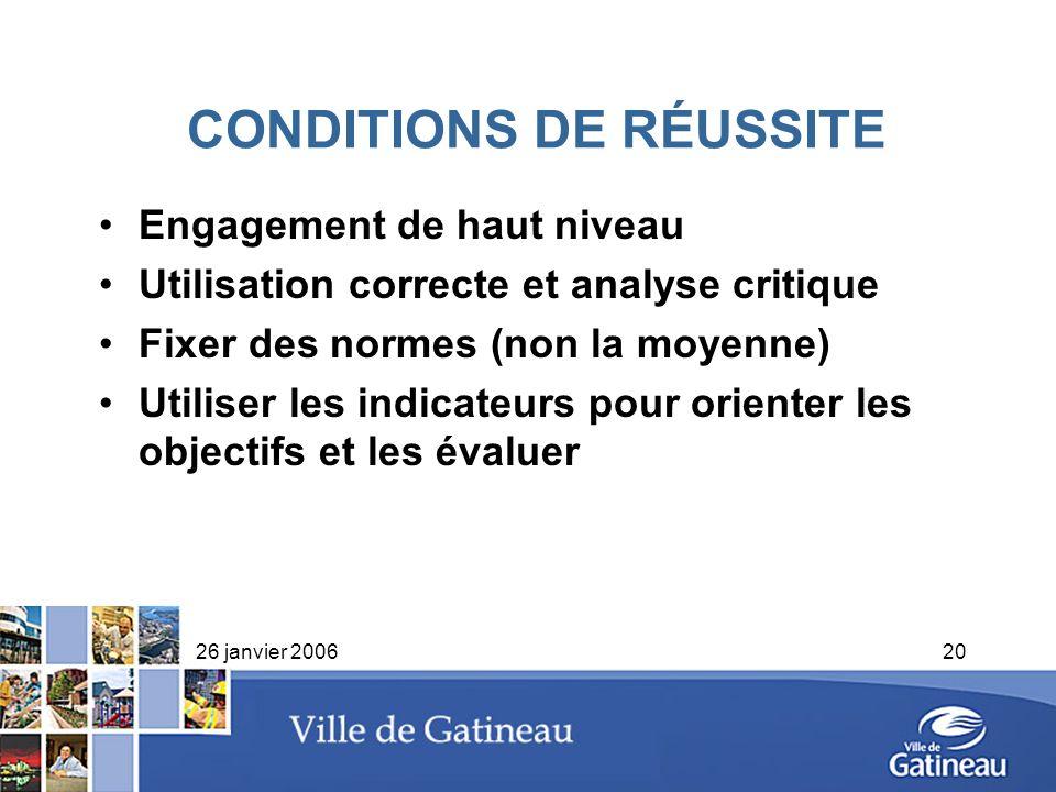 26 janvier 200620 CONDITIONS DE RÉUSSITE Engagement de haut niveau Utilisation correcte et analyse critique Fixer des normes (non la moyenne) Utiliser