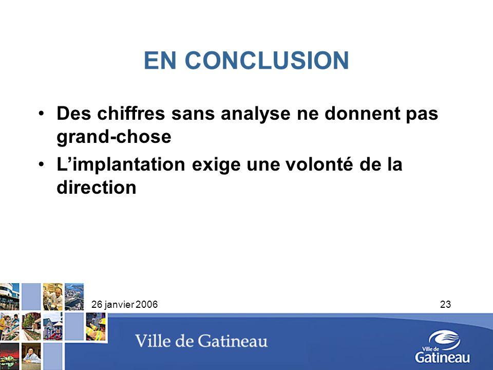 26 janvier 200623 EN CONCLUSION Des chiffres sans analyse ne donnent pas grand-chose Limplantation exige une volonté de la direction