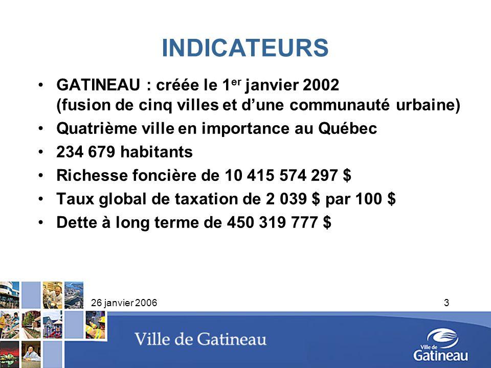 26 janvier 20063 INDICATEURS GATINEAU : créée le 1 er janvier 2002 (fusion de cinq villes et dune communauté urbaine) Quatrième ville en importance au
