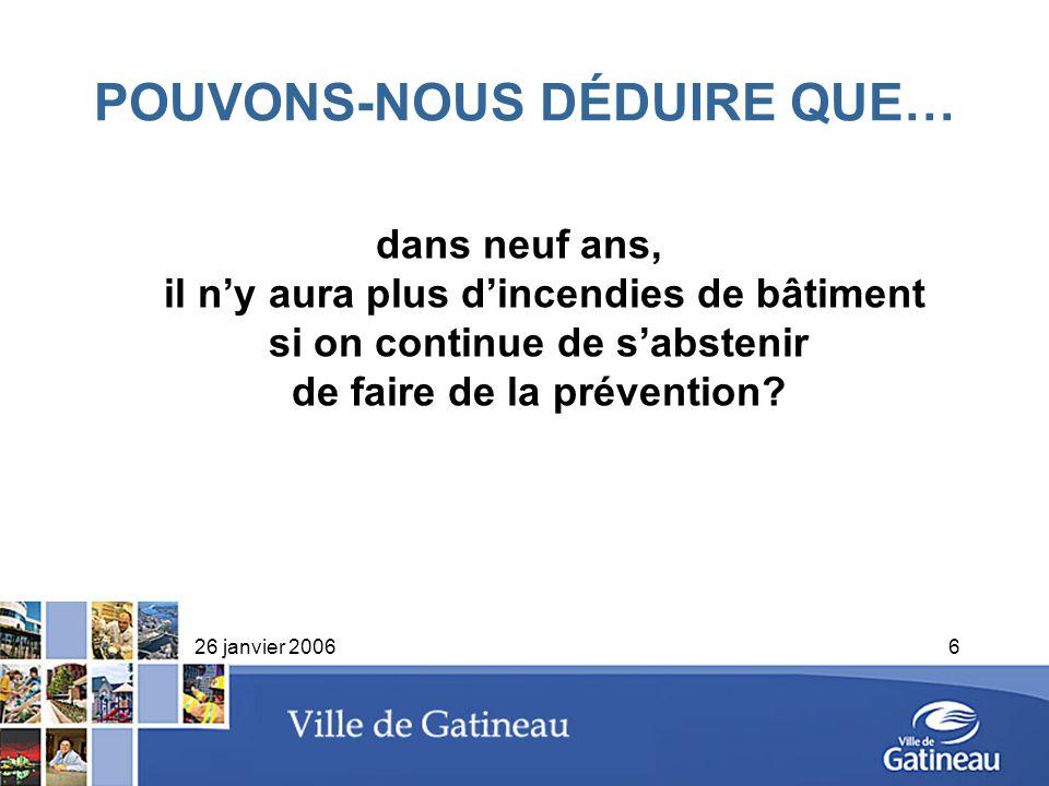 26 janvier 20066 POUVONS-NOUS DÉDUIRE QUE… dans neuf ans, il ny aura plus dincendies de bâtiment si on continue de sabstenir de faire de la prévention
