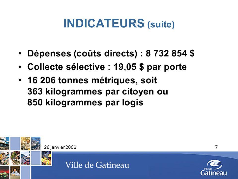 26 janvier 20067 INDICATEURS (suite) Dépenses (coûts directs) : 8 732 854 $ Collecte sélective : 19,05 $ par porte 16 206 tonnes métriques, soit 363 k