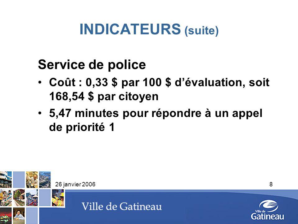 26 janvier 20068 INDICATEURS (suite) Service de police Coût : 0,33 $ par 100 $ dévaluation, soit 168,54 $ par citoyen 5,47 minutes pour répondre à un