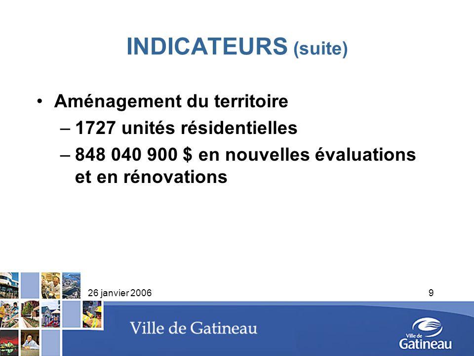 26 janvier 20069 INDICATEURS (suite) Aménagement du territoire –1727 unités résidentielles –848 040 900 $ en nouvelles évaluations et en rénovations
