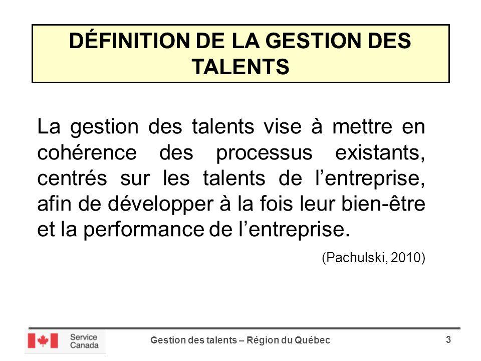 Gestion des talents – Région du Québec 3 DÉFINITION DE LA GESTION DES TALENTS La gestion des talents vise à mettre en cohérence des processus existants, centrés sur les talents de lentreprise, afin de développer à la fois leur bien-être et la performance de lentreprise.