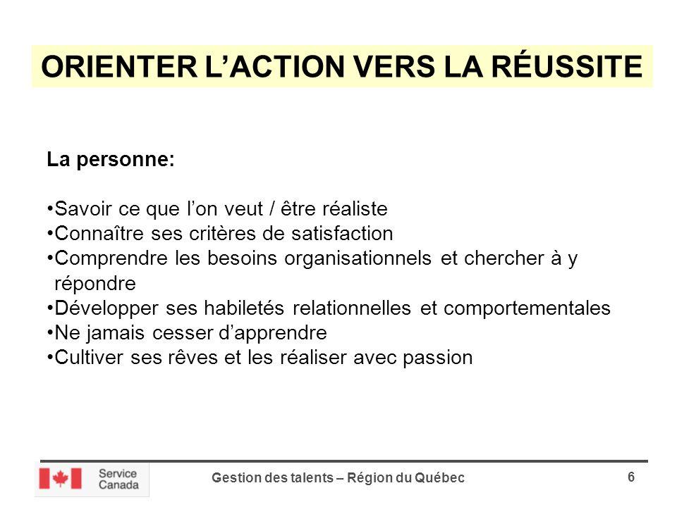 Gestion des talents – Région du Québec 7 LA GESTION DES TALENTS ÉQUILIBRE ENTRE LE TRAVAIL ET LA VIE PERSONNELLE MYTHE OU RÉALITÉ?