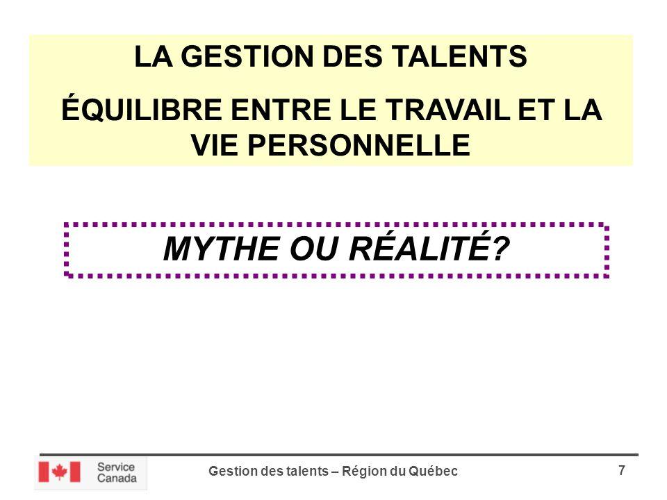 Gestion des talents – Région du Québec 7 LA GESTION DES TALENTS ÉQUILIBRE ENTRE LE TRAVAIL ET LA VIE PERSONNELLE MYTHE OU RÉALITÉ