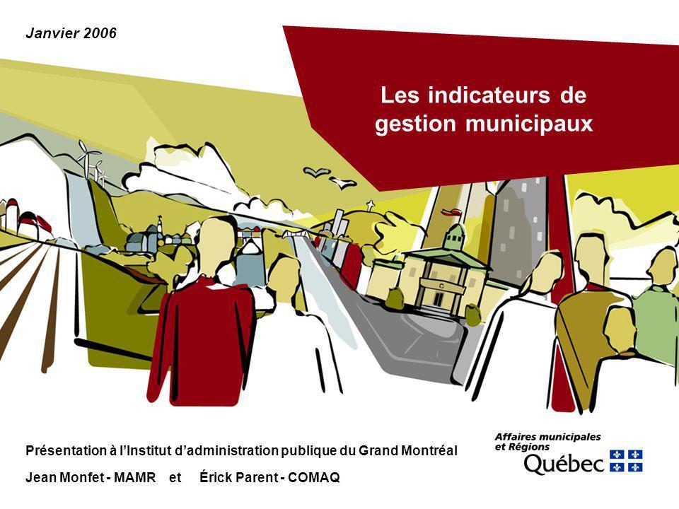 Les indicateurs de gestion municipaux Présentation à lInstitut dadministration publique du Grand Montréal Jean Monfet - MAMR et Érick Parent - COMAQ J