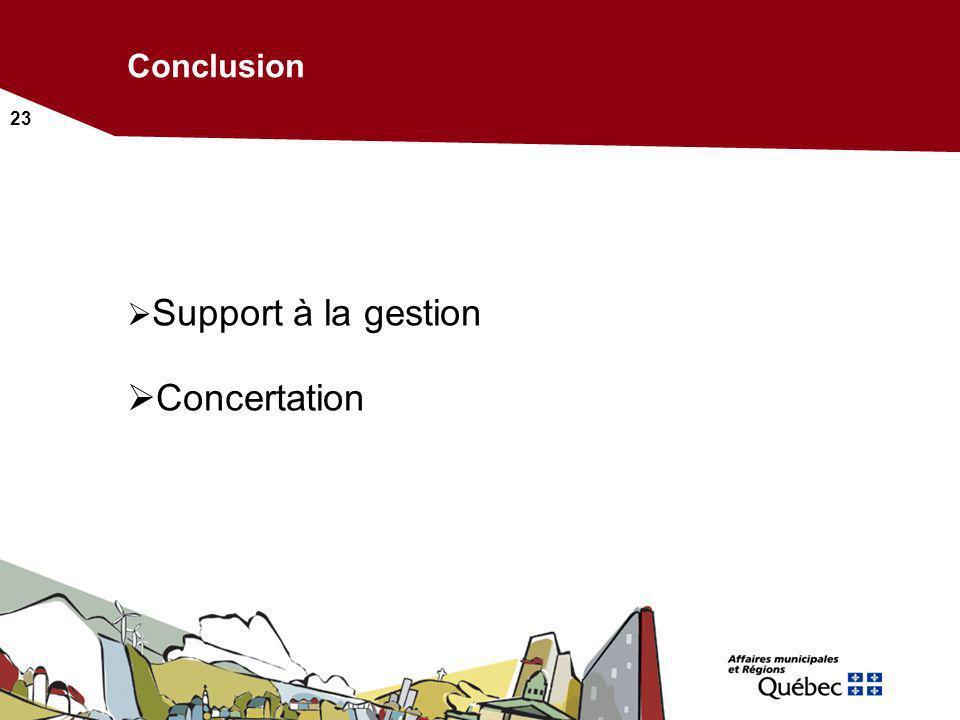 23 Conclusion Support à la gestion Concertation
